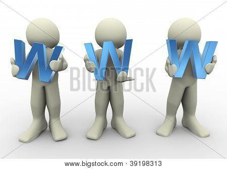 3D People Holding Www