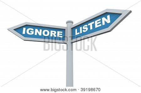 3D Listen Ignore Signpost