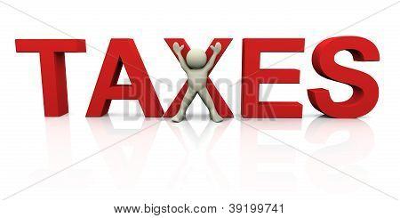 3D Man With Taxes