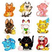 stock photo of japanese coin  - Illustration of Chinese and Japanese Fortune Cat Collection - JPG