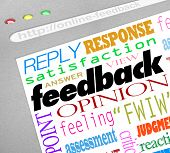 A website screen showing an online survey for collecting feedback, opinions, answers and viewpoints
