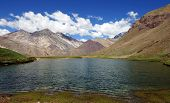 stock photo of aconcagua  - Lagoon within the Aconcagua National Parc - JPG