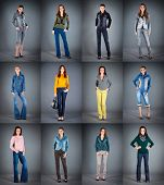 jeans collection lady's clothes a dark background