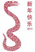 picture of chinese new year 2013  - Chinese Lunar New Year Snake with Polka Dots in Silhouette with Text Wishing Happy New Year in 2013 Illustration - JPG