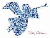 stock photo of angel-trumpet  - Christmas Angel Trumpet Silhouette in Polka Dots with Merry Christmas Text Illustration - JPG
