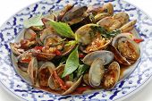 picture of thai cuisine  - stir fried clams with roasted chili paste and thai sweet basil - JPG