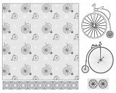 image of penny-farthing  - Seamless vector repeating pattern - JPG
