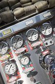 stock photo of firehose  - Fire hoses and pressure gauges in fire engine - JPG