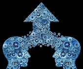 image of merge  - Thinking as a team for success as a corporate partnership and business teamwork growth concept with two human head shapes merging together to form an upward arrow made of gears and cogs as a financial success symbol on black - JPG