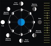 stock photo of wane  - Moon Phases - JPG