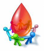 stock photo of charity relief work  - Blood donation with a diverse community coming together as a charity event for giving and donating a life giving gift with people holding hands around a three dimensional red drop on a white background - JPG