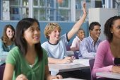 picture of students classroom  - Students answering questions in geography class - JPG