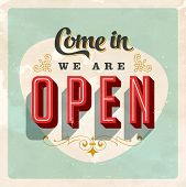 Vintage Store Sign - Open sign - Vector EPS10. Grunge effects can be easily removed for a brand new,
