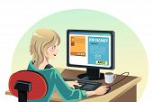stock photo of unemployed people  - A vector illustration of a woman searching for a job online - JPG