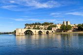 stock photo of avignon  - Avignon Bridge with Popes Palace Pont Saint - JPG