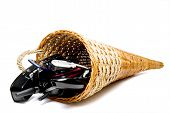 picture of cornicopia  - A wicker cornucpia filled with communications equipment - JPG