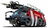 foto of ladder truck  - Vector cartoon firetruck - JPG