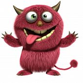 picture of bigfoot  - 3d cartoon cute red hairy alien monster - JPG