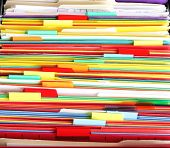 foto of file folders  - Colorful file folder in the drawer for asbtrast background - JPG
