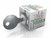 stock photo of encoding  - 3d render of data protection wordcloud cube with key - JPG