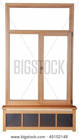 Wooden Windows With Double Glazing.  French Windows With Wooden Frame Of The Timber. Isolated Image