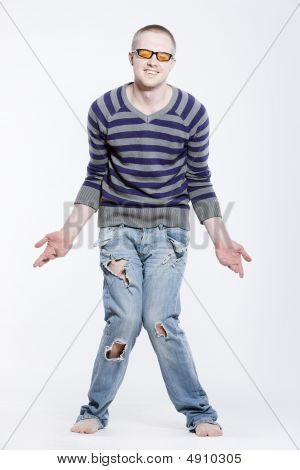 Unhappy Outcast In Old Jeans
