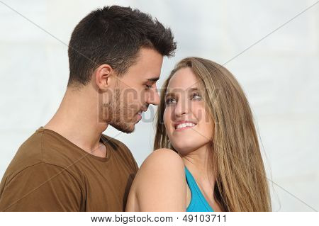 Close Up Of A Beautiful Couple Looking Each Other