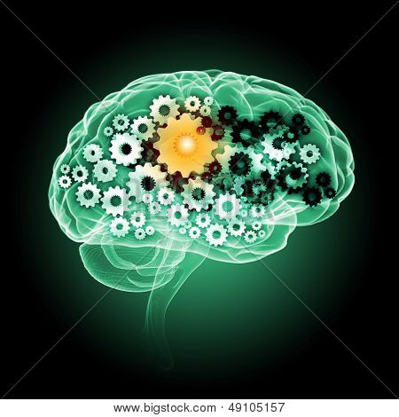 Illustration of human brain with cogwheel mechanisms