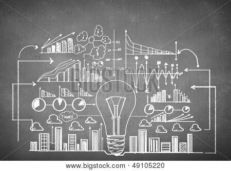 Bosquejo de plan de negocios dibujado tiza. Concepto de idea