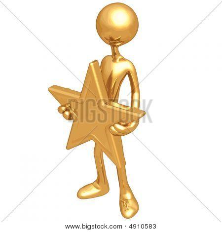Con una estrella de oro