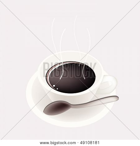 A Smoking Hot Coffee On Grey Background
