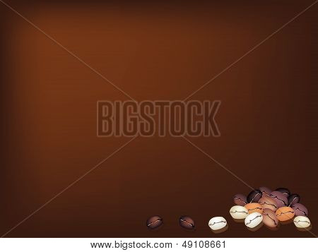 Different Colors Of Coffee Beans Stack On Brown Background