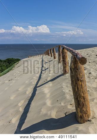 Wooden Fence On The Highest Dune Of The Curonian Spit