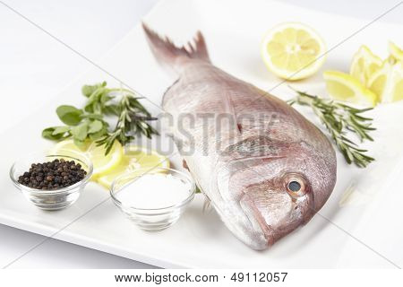 A Red Sea Bream With Spices, Lemon Slices And Herbals