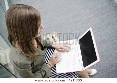 Student Working On A Laptop