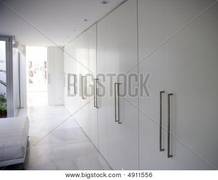 Modern White Long Corridor Closet, Contemporary