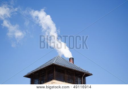 Modern Tin Roof Smoke Rise Chimney Pipe Blue Sky