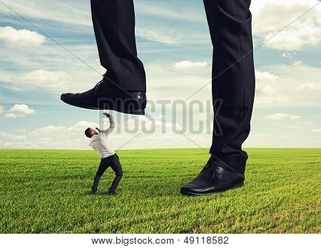 boss trampling down in the land his subordinate