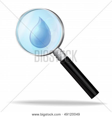 Magnifier enlarges a drop of water