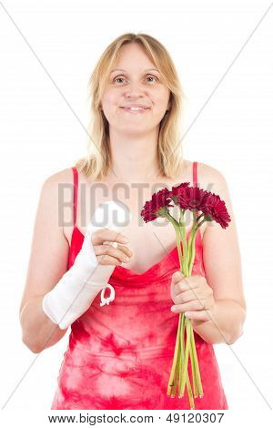 Beautiful Woman Is Happy That Her Finger Feels Better