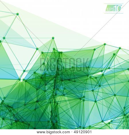 3D Green and Blue Abstract Mesh Background with Circles, Lines and Shapes | EPS10 Design Layout for Your Business