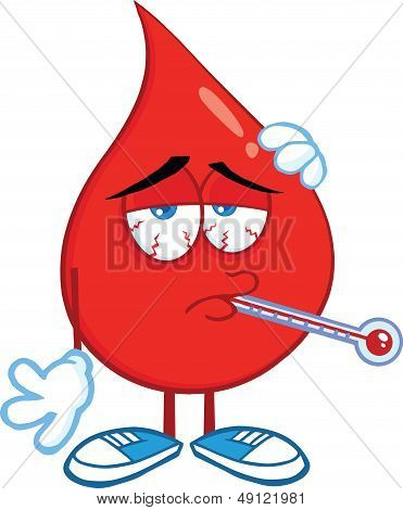 Sick Blood Drop Character With Thermometer
