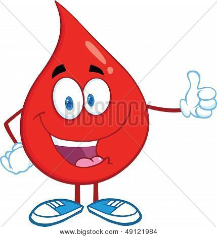 Red Blood Drop Character Giving A Thumb Up