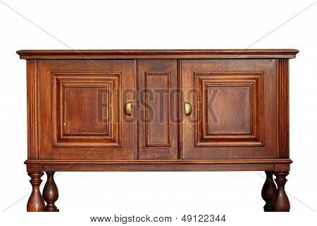 Ancient Wooden Furniture Over White
