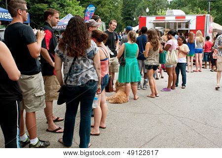 People Stand In Long Line To Buy Ice Cream