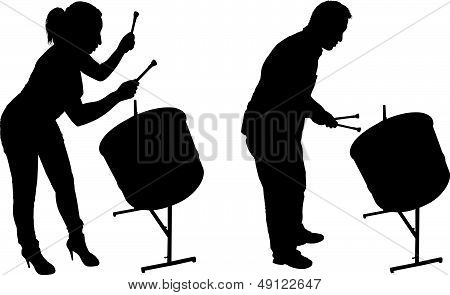 Steel Drum Players Silhouettes