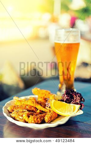 Glass Of Beer And Fish