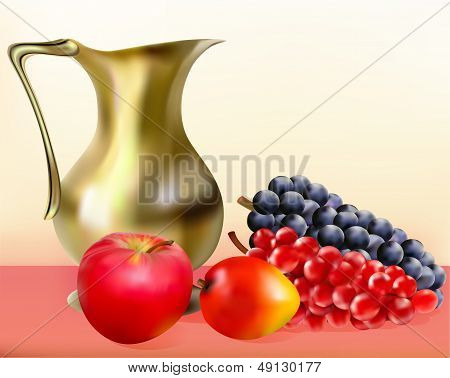 Still Life With A Jug Of Apple Golden Grapes And Mangoes