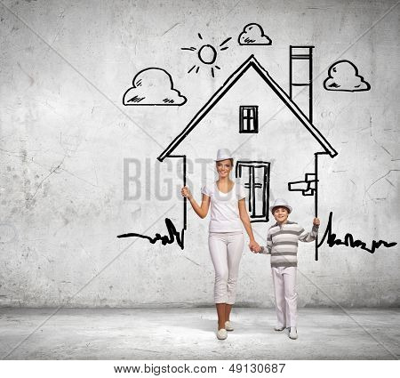 Image of mother and son in house. Mortgage concept