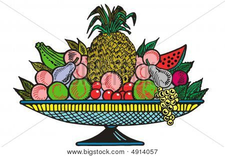 Still Life On A Composition Of Fruit On A White Background
